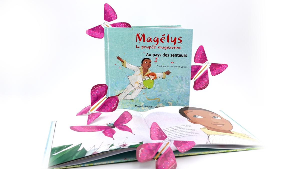 Des papillons magiques s'envolent du livre extraordinaire de Magie à l'hôpital