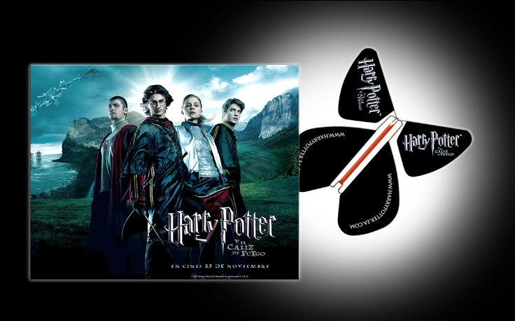 "Le Papillon Magique participe à une promotion prestigieuse de sortie de film en Espagne : Harry Potter ""y el Caliz de Fuego"". Le Papillon Magique 