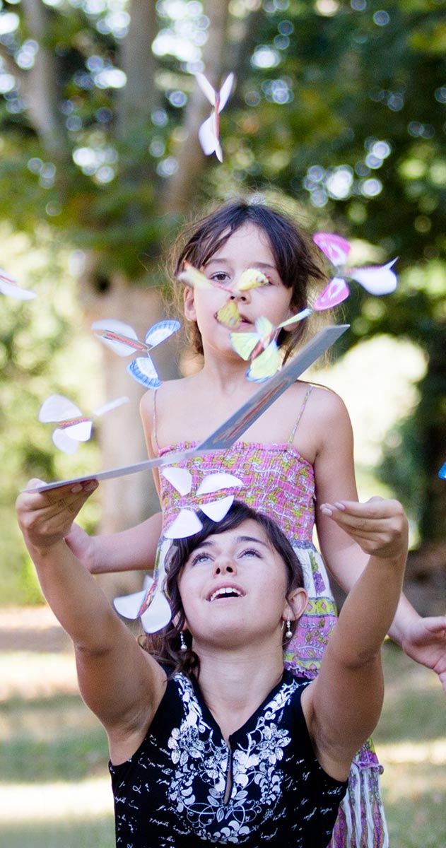 Magicflyer, two kids with our magic butterflies