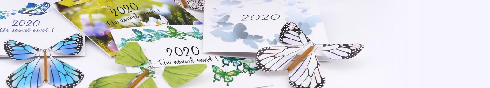 Cartes de voeux entreprise avec un Papillon Magique