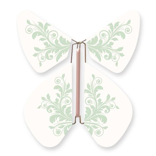 Butterfly Baroque Flower Green Pastel